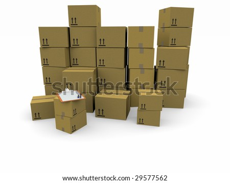 piles of cardboard boxes