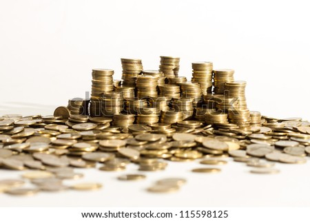 Piles of coins.