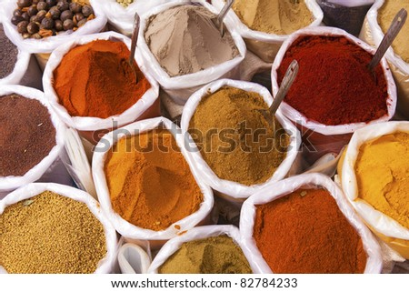 Piles of colorful spices, Anjuna market