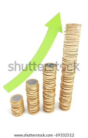 Piles of Euro coins with green arrow pointing up