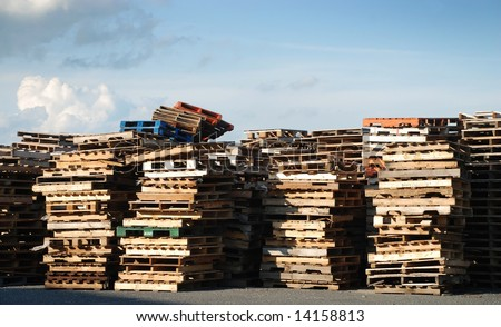 Piles of industrial wooden pallets