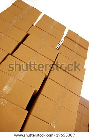 piles of paper boxes - stock photo
