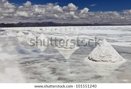 Piles of salt on the surface of the Salar de Uyuni salt lake, Bolivia