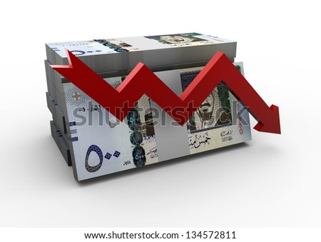piles of Saudi Arabia money with red arrow on isolated white background