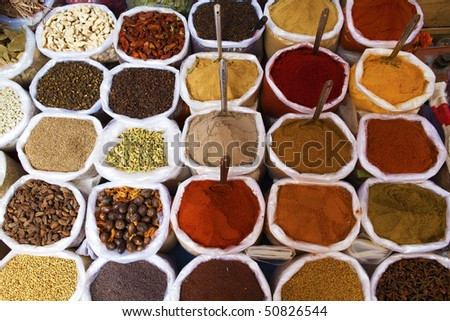 Piles of spices for sale.