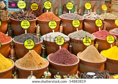 Piles of spices in pots for sale, Istanbul, Turkey