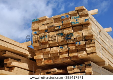 Piles of  timber cut from Pinus radiata wait their turn for despatch from the sawmill #385417891