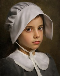 Pilgrim Girl. Imitation of antique painting with cracks.
