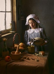 Pilgrim girl in old house