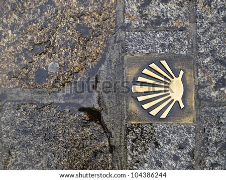 Pilgrim's shell (scallop) in the way of Santiago de Compostela.  It is a symbol indicating the direction from which it has to follow the road to Santiago de Compostela
