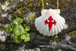 pilgrim shell  on the rocks in  Way of St James,  Camino de  Santiago, to  Compostela, Galicia, Spain