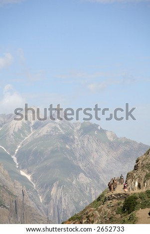 Pilgrimage to the holy Amarnath cave in the Himalayas - stock photo