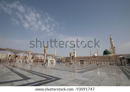 Pilgrims walk at the Nabawi Mosque compound  in Medina, Saudi Arabia. The mosque is the second holiest mosque in Islam.