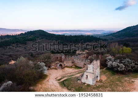 Pilisborosjenő, Hungary - Aerial view of the copy of the famous castle of Eger at Nagy-Kevély. Stock fotó ©