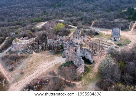 Pilisborosjeno, Hungary - Aerial view of the copy of the famous castle of Eger at Nagy-Kevely. Stock fotó ©