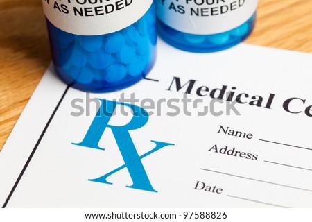 Pill Bottle and Prescription, concept for Healthcare And Medicine