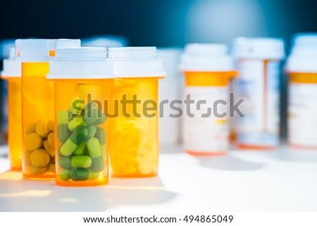 Pill Bottle of Prescription Capsule Medicine