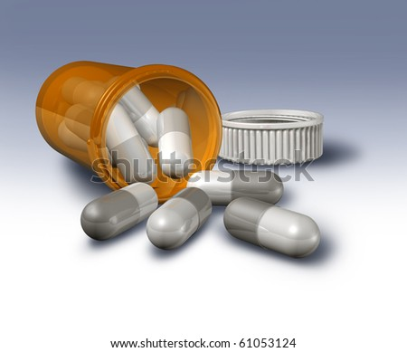 pill bottle open laying down grey and white prescription pills capsules
