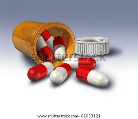 pill bottle open laying down red and white prescription drugs pills capsules