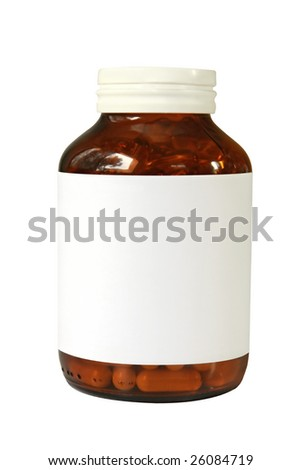 Pill bottle with blank label, ready for your message.  Isolated on white. - stock photo
