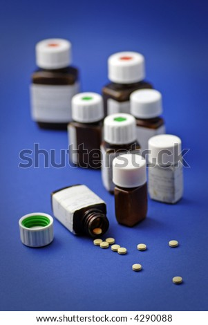 pill bottles; vignette and differential focus