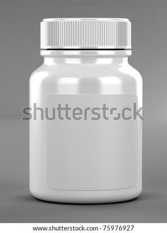Pill's container with label on gray background