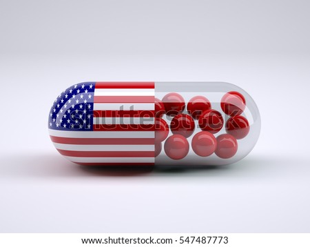 Pill with American flag wrapped around it and red ball inside, 3d illustration
