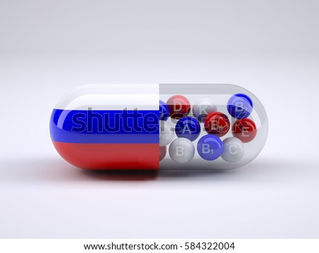 Pill with Russian flag wrapped around it and red ball inside, 3d illustration