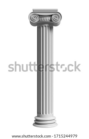 Pillar column ancient greek stone marble, ionic style pedestal, isolated against white color background, vertical. 3d illustration