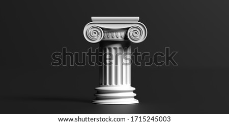 Pillar column ancient greek white color stone marble, ionic style pedestal, against black background, copy space. Law, architecture theme template. 3d illustration