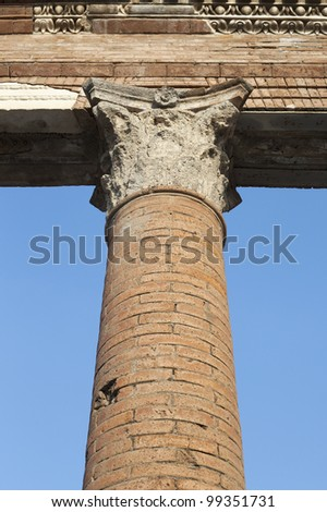 Pillar in Pompeii ruins, Italy.
