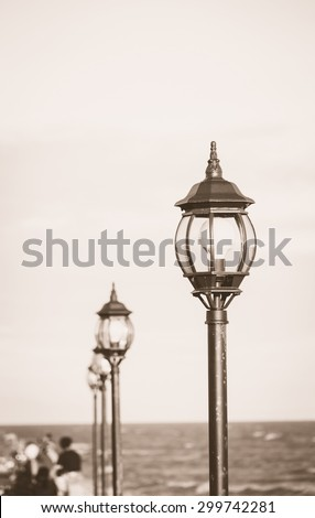 Pillar lamp seaside monochrome  selective focus , de focus