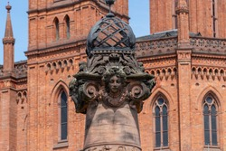 Pillar Marktsäule in front of the market church in Wiesbaden