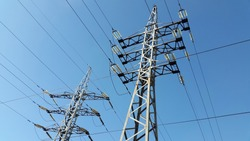 Pillar.  Power lines. Pole with electric wires. Electrification facility
