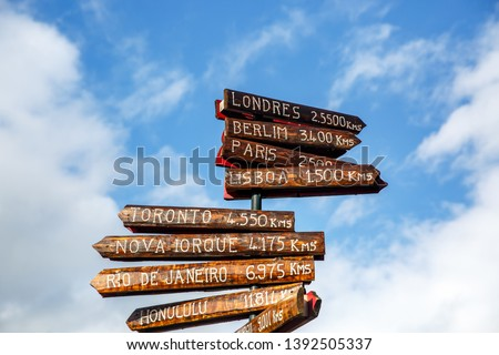 Pillar with direction to different capitals of the world. Distances from the Azores, Portugal