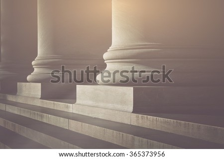 pillars and stairs to a...