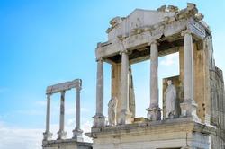 Pillars at ancient Roman theatre of Philippopolis, Plovdiv, Bulgaria