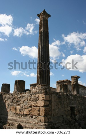 Pillars at Pompeii, Italy.  Date back to 79AD. - stock photo