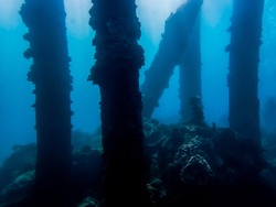 Pillars from Collapsed Pier Crusted with Coral Underwater in Blu