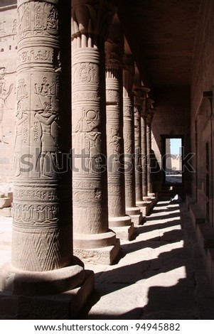 Pillars in the temple of Phylae