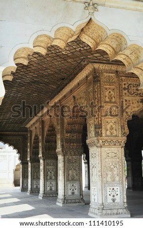 Pillars inside of Red Fort in Delhi, India