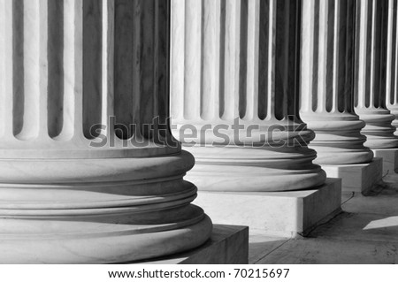 Pillars of Law and Information at the United States Supreme Court - stock photo