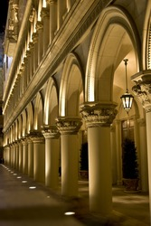 Pillars outside the luxurious Venetian hotel