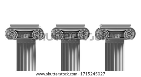 Pillars pedestals, ancient greek stone marble, three ionic style column part isolated against white color background, Presentation ad template. 3d illustration Stockfoto ©