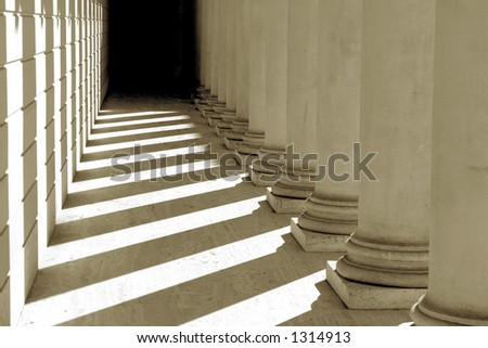 Pillars, Shadows and Light in Black & White