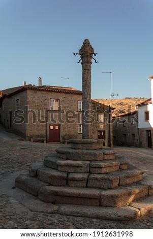Pillory in the main square of historic portuguese village Stockfoto ©