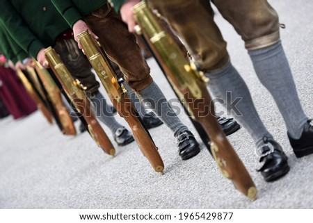 Pillory shooters at the public festival of folk culture in Oberwang, Austria Stockfoto ©