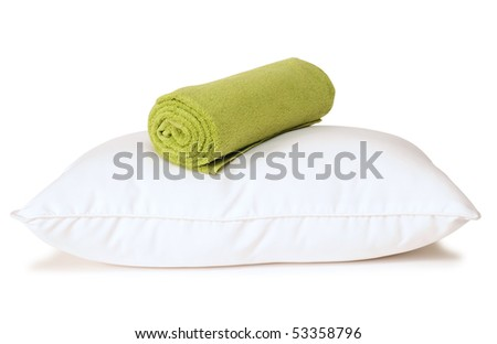 Pillow and towel. Isolated