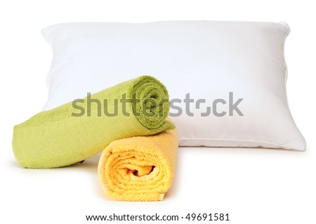 Pillow and towels. Isolated