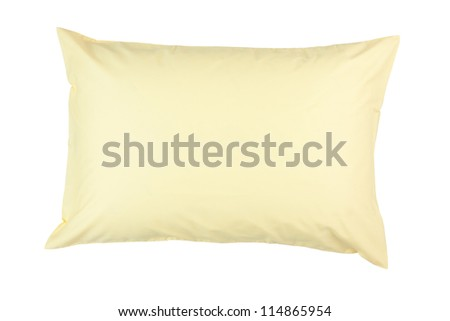 pillow with yellow pillow case on white background